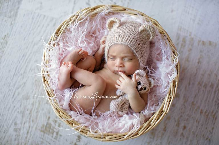 Newborn posed photography shoot sydney baby girl photo portrait in studio
